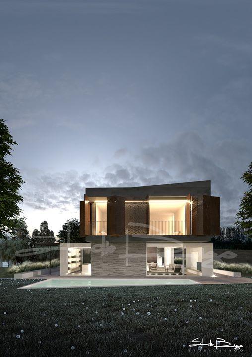 Studi del progetto per una nuova villa con piscina, dagli splendidi spazi interni e…